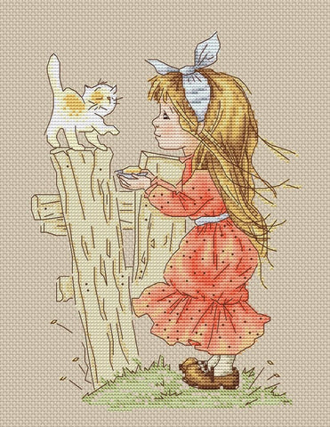free cross stitch patterns -  A Girl with Kitten - www.crossstitchclub.com - 1