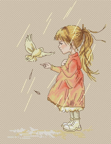 free cross stitch patterns -  A Girl with The Dove - www.crossstitchclub.com - 1