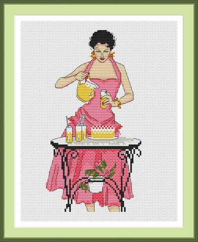 free cross stitch patterns -  A Lady Pouring Drinks - www.crossstitchclub.com