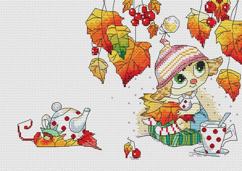 free cross stitch patterns -  Autumn Tea Party - www.crossstitchclub.com - 1