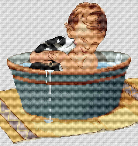 free cross stitch patterns -  Baby with Puppy in a Bath - www.crossstitchclub.com - 1