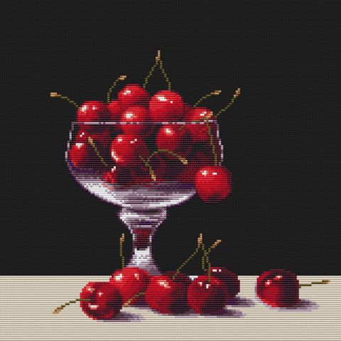 free cross stitch patterns -  Cherries in a Glass - www.crossstitchclub.com - 1
