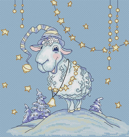 free cross stitch patterns -  Christmas sheep - www.crossstitchclub.com - 1