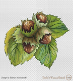 free cross stitch patterns -  Fall Nuts: a Chestnut, a Hazelnut and an Acorn - www.crossstitchclub.com - 4