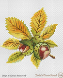 free cross stitch patterns -  Fall Nuts: a Chestnut, a Hazelnut and an Acorn - www.crossstitchclub.com - 2