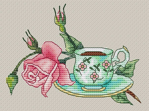 free cross stitch patterns -  Cup of Tea with Rose Flower - www.crossstitchclub.com - 1