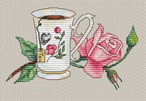 free cross stitch patterns -  Cup of Tea with Rose Flower 2 - www.crossstitchclub.com