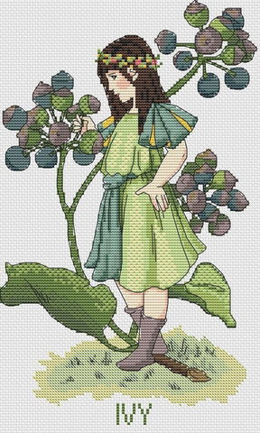 free cross stitch patterns -  Elf and Ivy Plant - www.crossstitchclub.com - 1