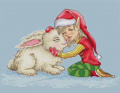 free cross stitch patterns -  Elf with Bunny - www.crossstitchclub.com - 1
