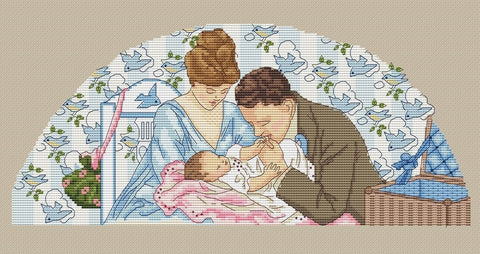 free cross stitch patterns -  Family with a Newborn - www.crossstitchclub.com - 1