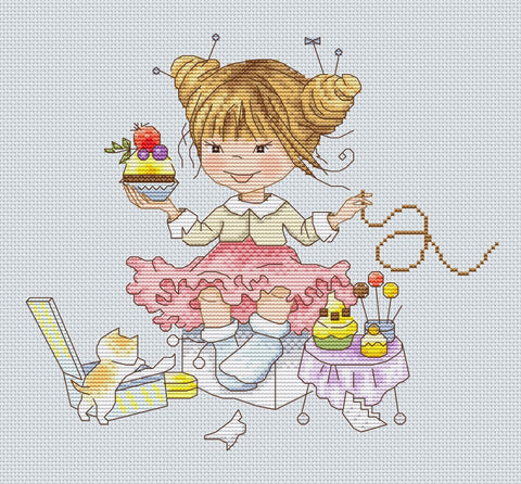 free cross stitch patterns -  Girl with a Cake - www.crossstitchclub.com - 1