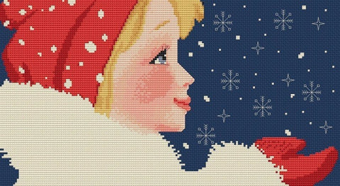 free cross stitch patterns -  Girl with Snowflakes - www.crossstitchclub.com - 1