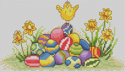 free cross stitch patterns -  Hello, World! (Happy Easter) - www.crossstitchclub.com - 1