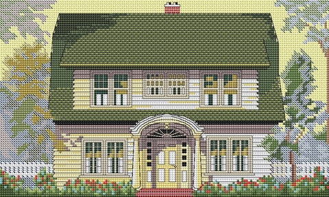 free cross stitch patterns -  House with Green tiled roof - www.crossstitchclub.com - 1