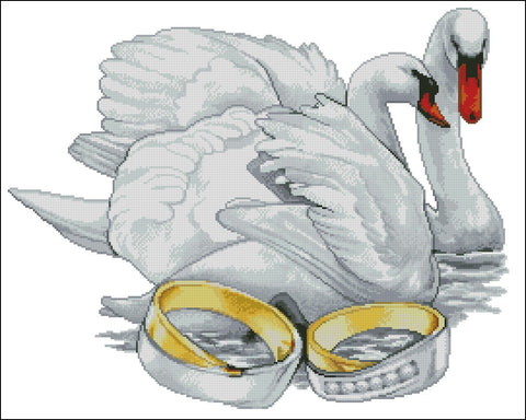 free cross stitch patterns -  Loving Swans - www.crossstitchclub.com - 1