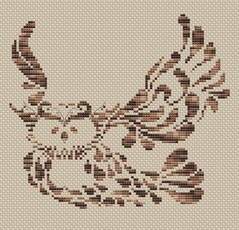 free cross stitch patterns -  Melange Owl - www.crossstitchclub.com