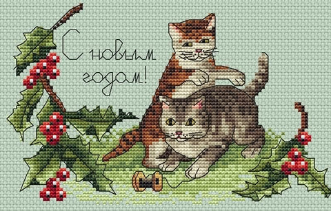 free cross stitch patterns -  New Year Kittens - www.crossstitchclub.com - 1