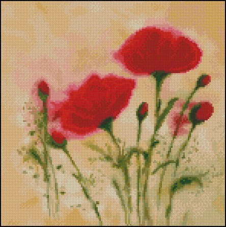 free cross stitch patterns -  Poppies - www.crossstitchclub.com - 1
