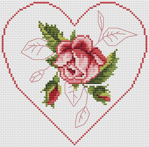 free cross stitch patterns -  Rose Flower Framed by a Heart - www.crossstitchclub.com - 1