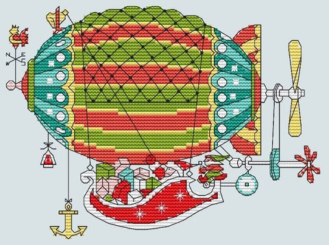 free cross stitch patterns -  Santa Claus Riding the Zeppelin - www.crossstitchclub.com - 1