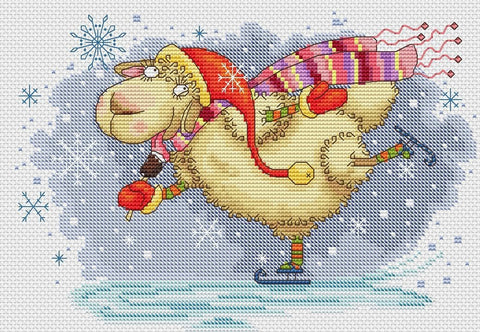 free cross stitch patterns -  Skating Sheep - www.crossstitchclub.com - 1