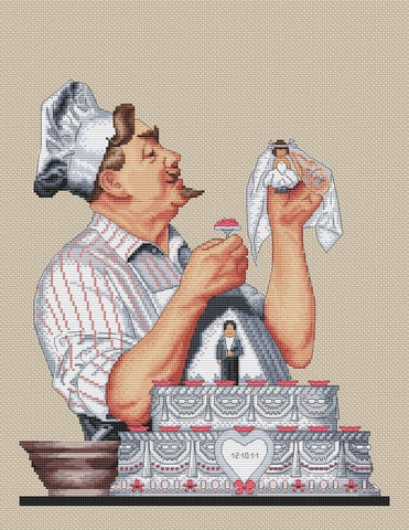 free cross stitch patterns -  The Chef with a Wedding Cake - www.crossstitchclub.com - 1