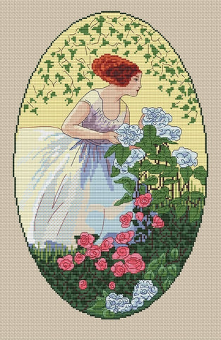 free cross stitch patterns -  Vintage Girl with Flowers - www.crossstitchclub.com