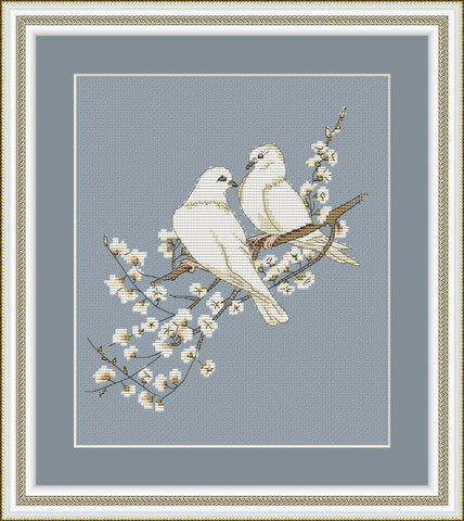 free cross stitch patterns -  White Doves - www.crossstitchclub.com - 1