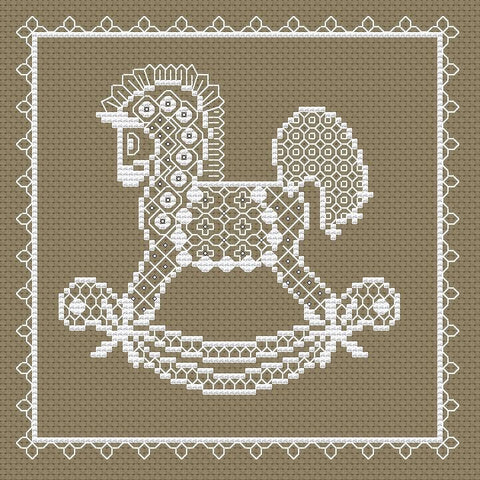free cross stitch patterns -  White Horse - www.crossstitchclub.com - 1