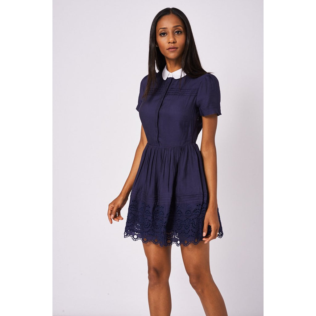 Navy Blue Skater Dress With White Collar Ex-Branded - Stylishme