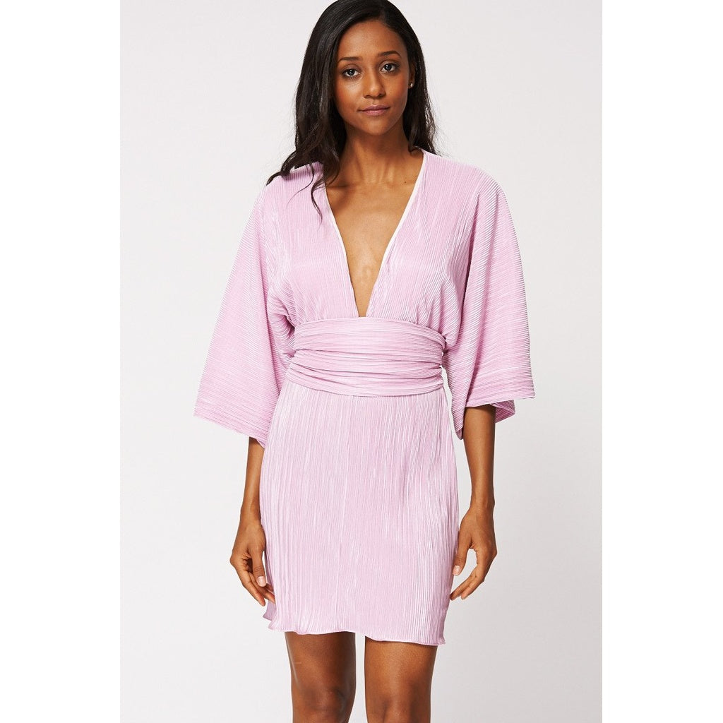 Lilac Pleated Mini Dress With Obi Belt Ex-branded - Stylishme