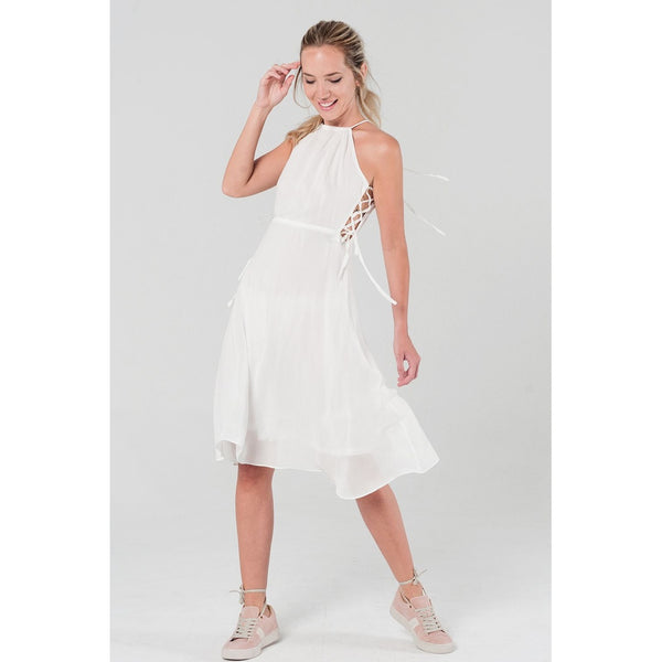 Side lace up dress with open back in white - Stylishme