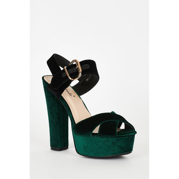 Green And Black Velvet Block Heel Platform Sandals - Stylishme