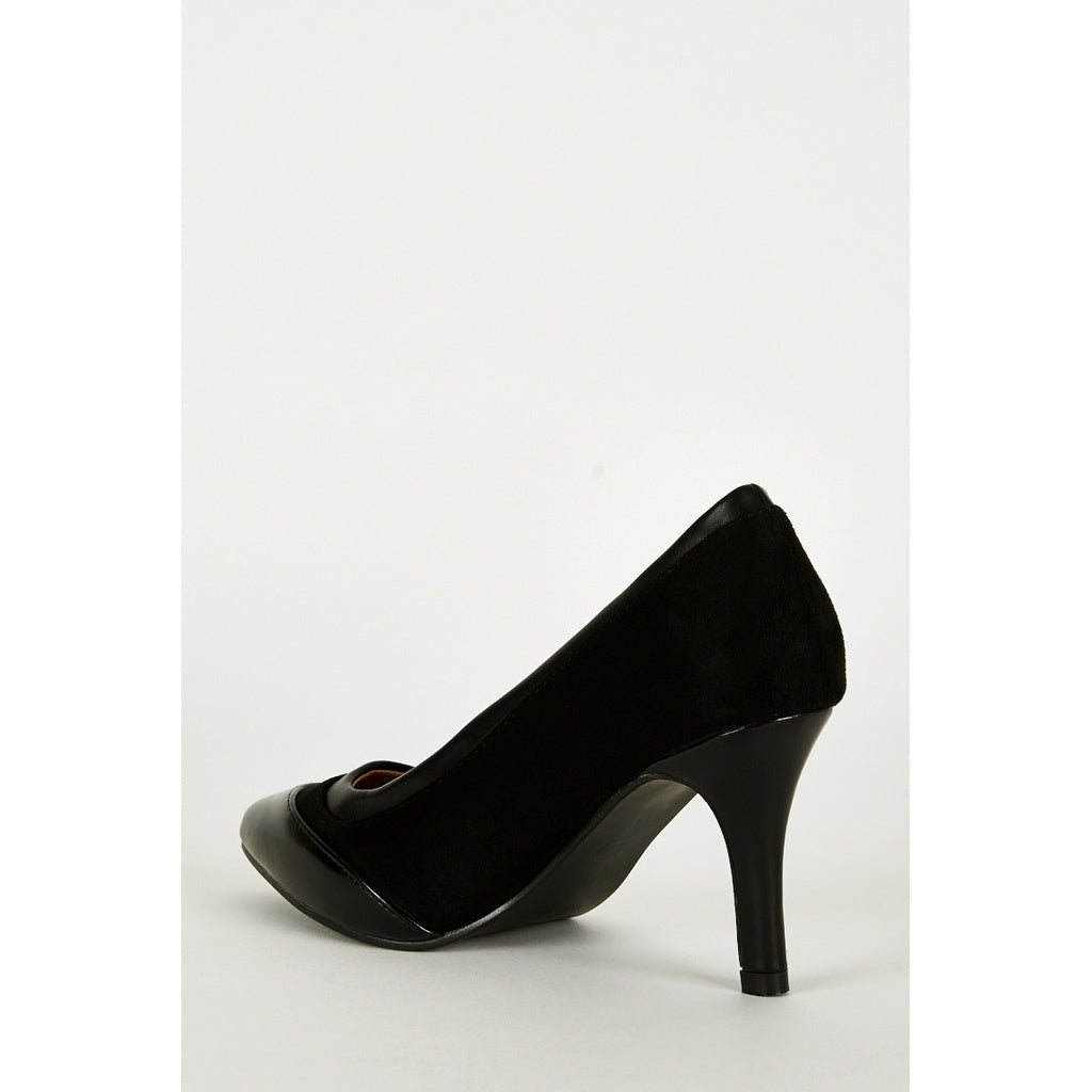 Black Faux Suede & Leather Pointed Court Shoes - Stylishme