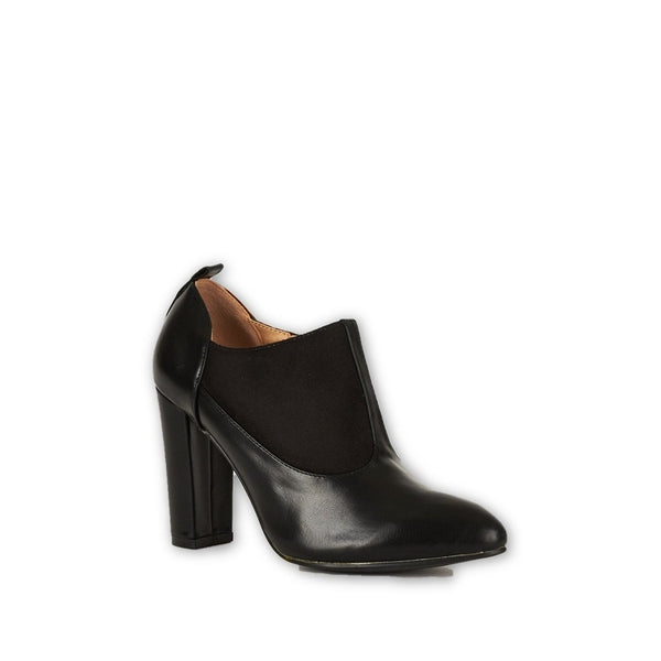 Black Faux Suede  and Faux Leather Block Heel Ankle Boots - Stylishme