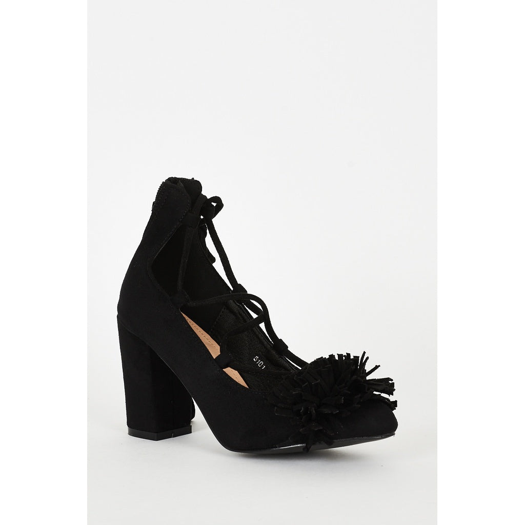 Black Lace Up Fringed Faux Suede Block Heel Shoes - Stylishme