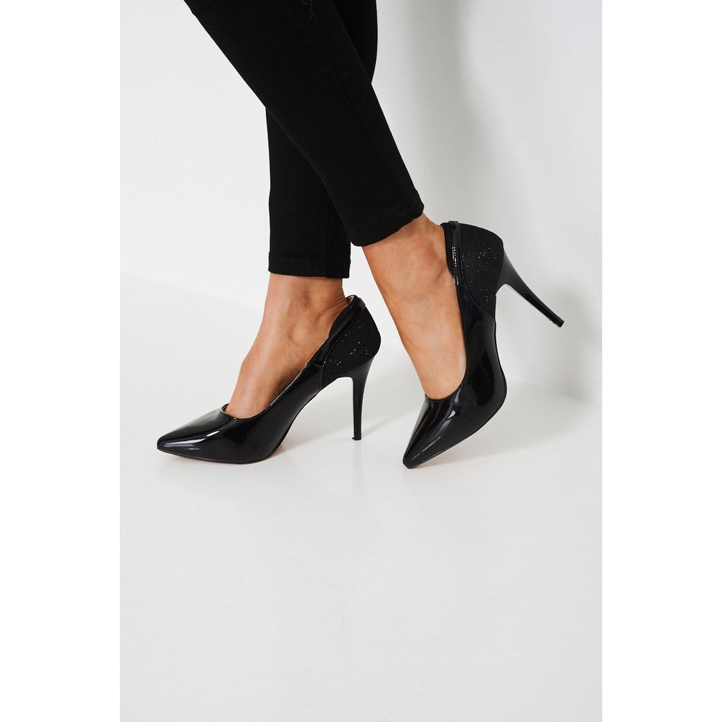 Elegant Black Pointed Patent High Heels - Stylishme