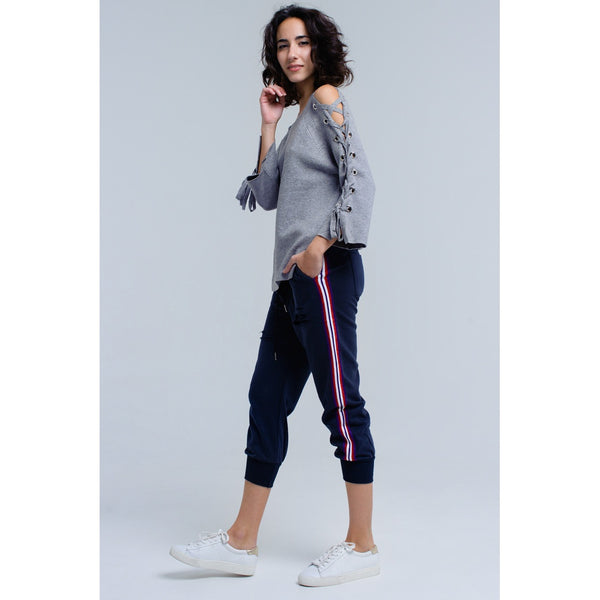 Navy pants wih rips - Stylishme