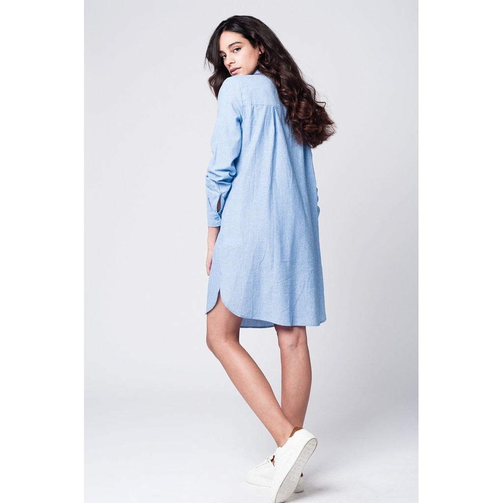 Blue shirt dress with tie front detail in fine stripe - Stylishme