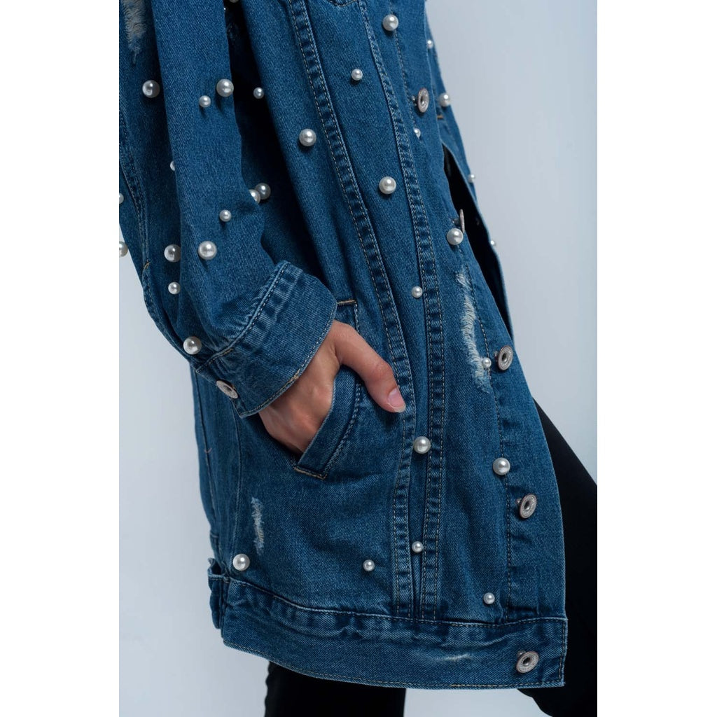 Denim jacket with pearls - Stylishme