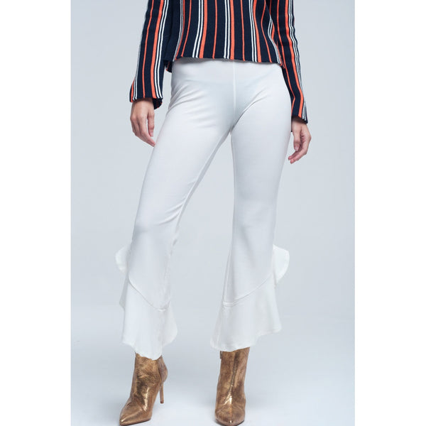 Midi cream pants with ruffle hem - Stylishme