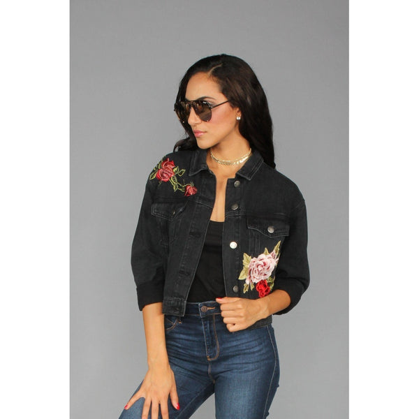 Floral Embroidered Denim Jacket - Stylishme