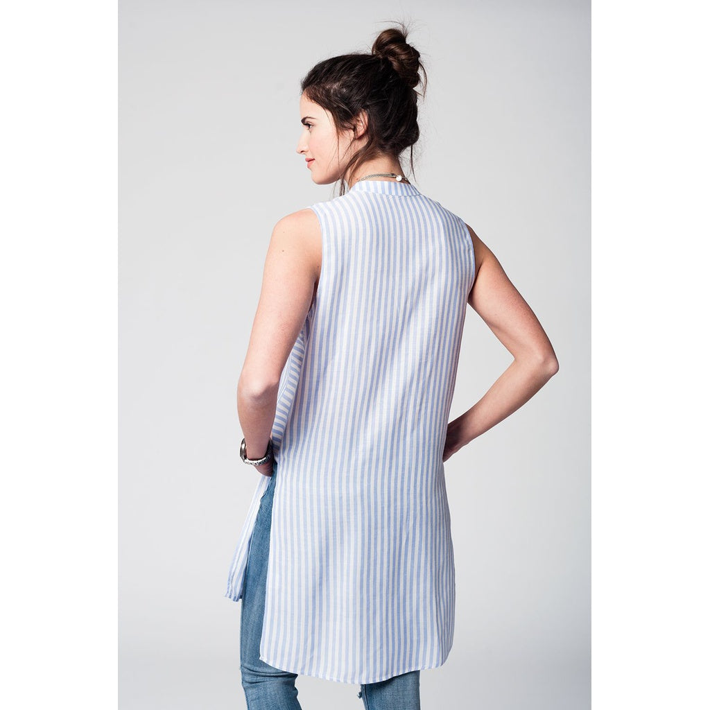 Long blouse with blue stripes - Stylishme