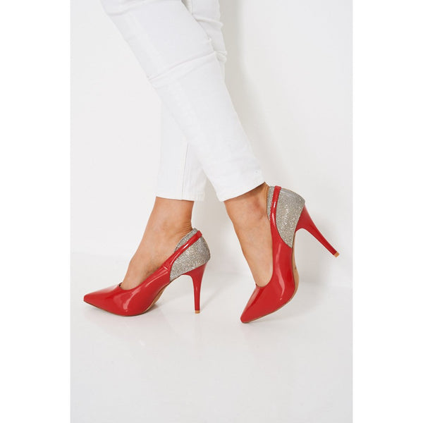 Elegant Red Patent Pointed Glittery High Heels - Stylishme