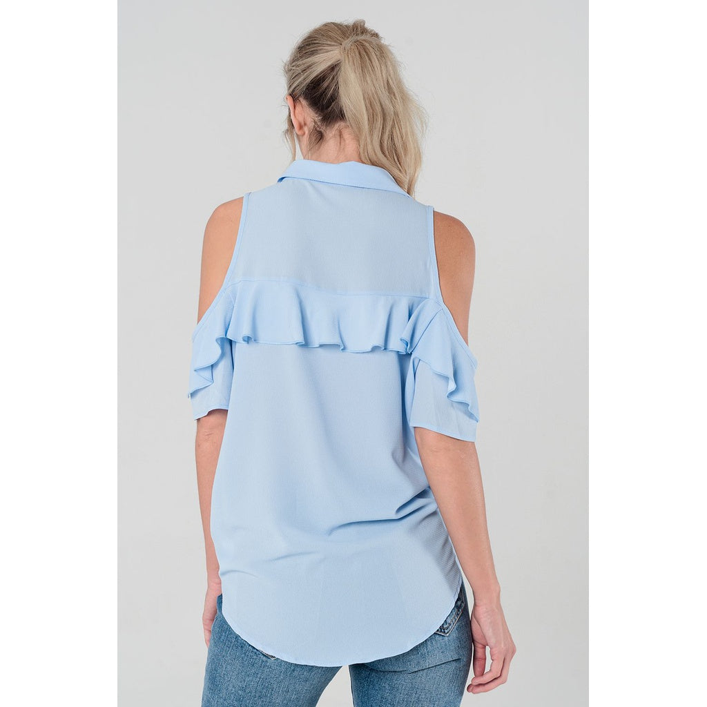 Cold shoulder ruffled shirt in blue - Stylishme