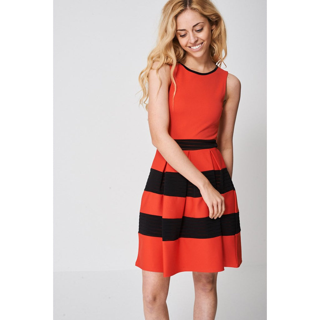Red and Black Striped Prom Skater Dress Ex-branded - Stylishme