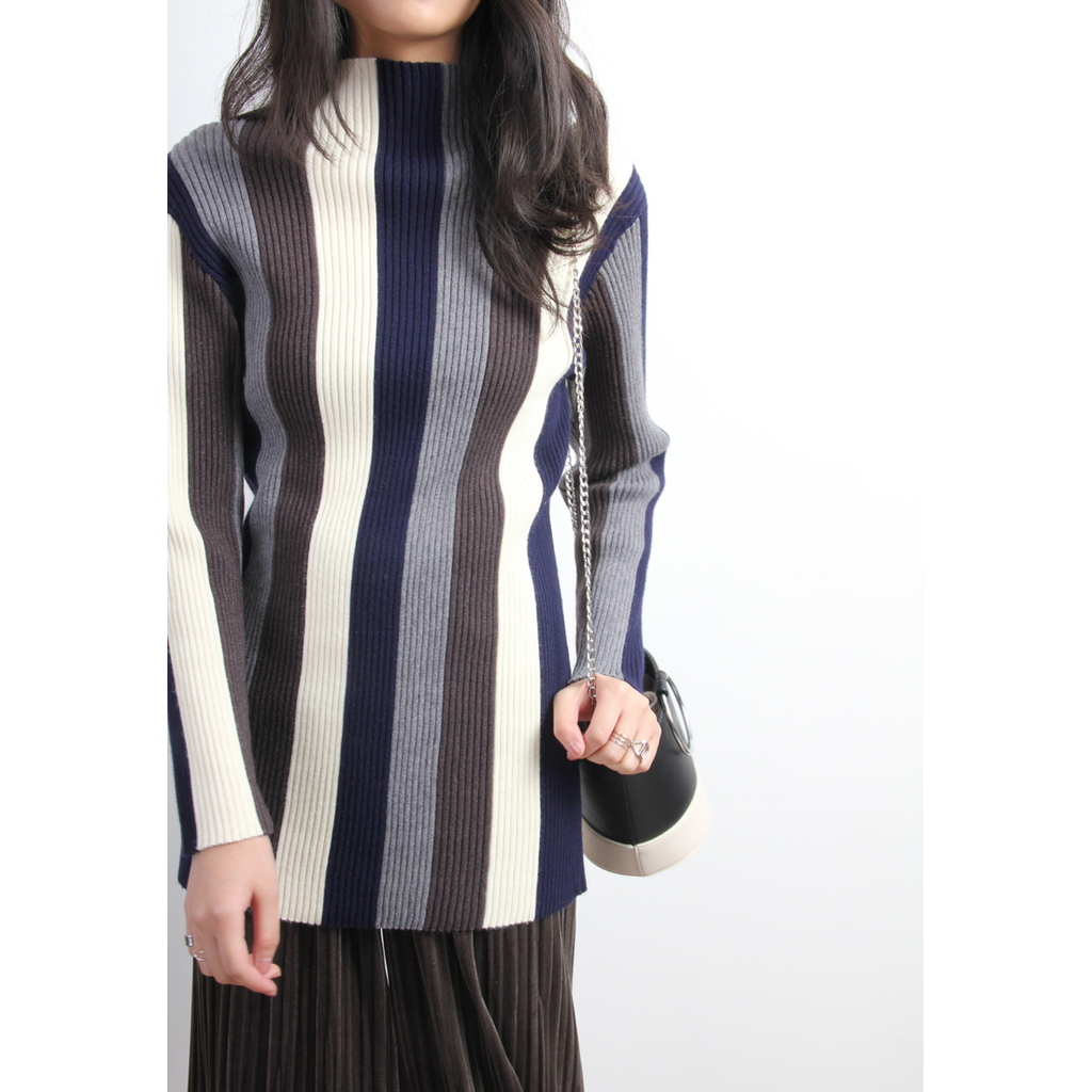 Korean Bold Stripe Ribbed Knit Top - Stylishme