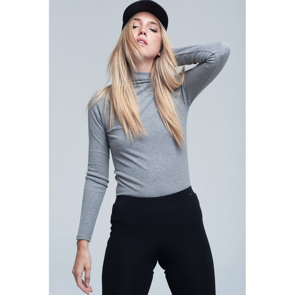 Ribbed top in grey - Stylishme