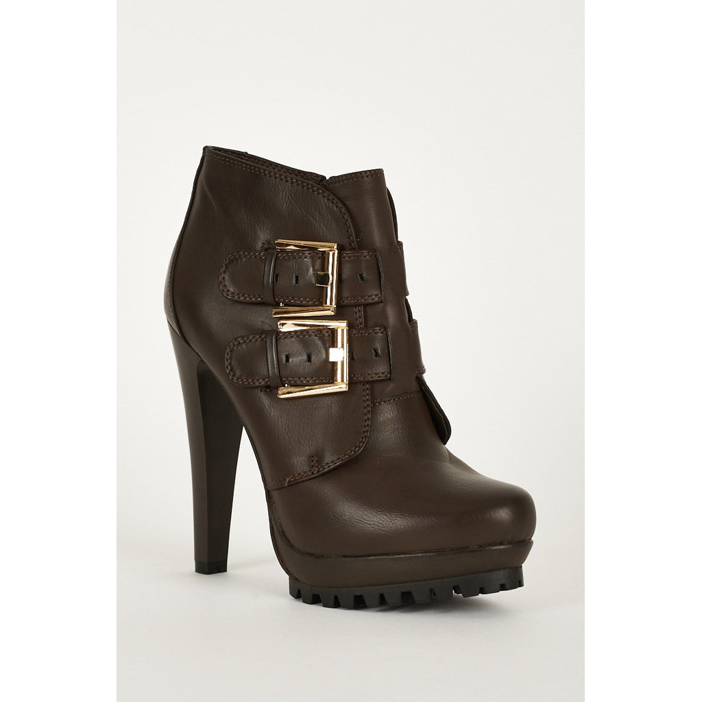 Platform Boots With Strap Buckle And Zip Up Details in Brown - Stylishme