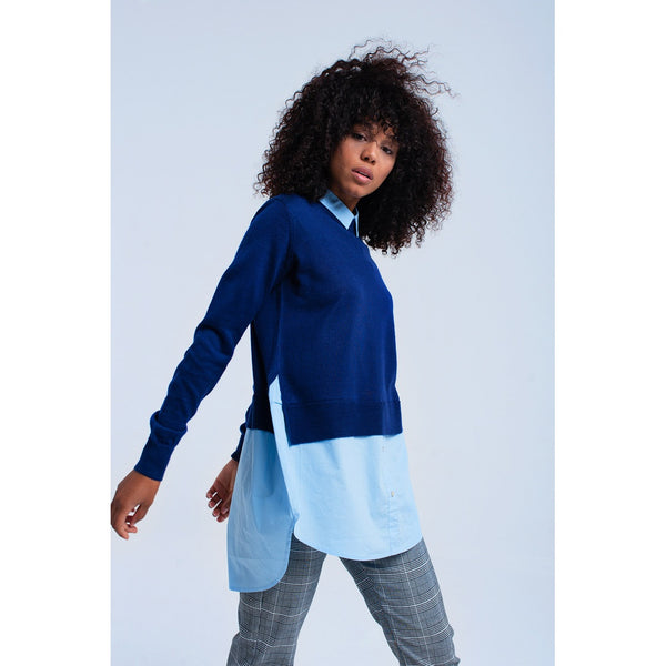 Blue sweater with shirt - Stylishme